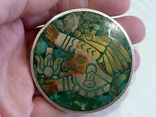 HUGE VINTAGE STERLING SILVER 925 TURQUOISE BROOCH PIN PENDANT 47g. SCRAP JEWELRY