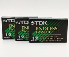TDK Endless Cassette EC-12M Lot of 3 Loop Tapes HQ 12 Minutes NEW Special Use