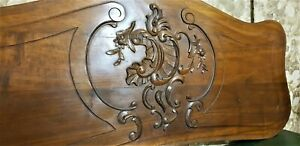 Large flower scroll leaf wood carving panel Antique french architectural salvage