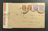 1941 Munnar Travancore India Censored Cover to New York City India Censor