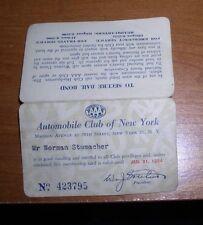 1953 AAA AUTOMOBILE CLUB OF NEW YORK MEMBERSHIP CARD