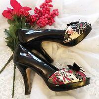 Madden Girl Prestige Floral Peep Toe Bow Heels Pumps Shoes Women's Size 6