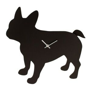 Wall Clock, Time Watch, Motif With Wedelndem Tail, Rod Wackelt, French Bulldog