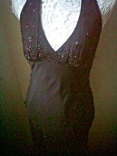 Pure Silk Black Marina Halterneck Knee length Dress sz8. Exquisite & Unusual.