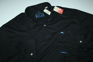Tommy Bahama Polo Shirt Bali Skyline Black TR213414 LS New XXXX-Large Tall 4XT