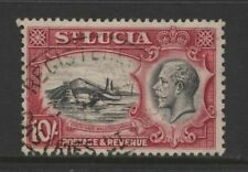 St Lucia 1936 KGV 10/- Black & Red Badge of Colony Stamp Used