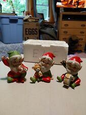 Vintage Homco #5618 Christmas Elf Figurines Set Of 3 Ceramic Elves