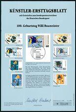 BRD KÜNSTLER-ETB 1989/2 BAUMEISTER MALER KÜNSTLER-ERSTTAGSBLATT LTD. EDITION