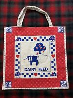 Dairy Feed Bag Vintage Dairy Feed Tote 1960s Tote Bag Rare Vtg Red Blue