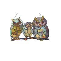 Owl Decor Bird Stained Glass Hanging Window Panel Tiffany Style Suncatcher