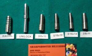6 PIECE STANDARD Maintenance arbor set for drills or lathe pool cue repairs