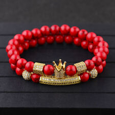 Luxury Micro Pave CZ Balls King Crown Tube Charm Red Turquoise Beads Bracelets