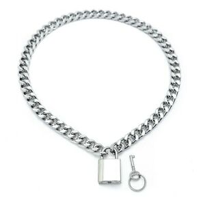 Silver Cuban Chain Choker Style Necklace With Real Pad Lock Key Sid Vicious Punk