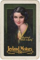 Playing Cards 1 Single Card Old LEYLAND MOTORS Car Advertising Lady FLAPPER GIRL