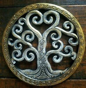 Tree of life wood carving Hand painted wall hanging ornament decoration 25cm