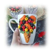 Decorated fruit berry mug handmade Unique tea coffee Funny Personalized gift