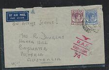 MALAYA STRAITS SETTLEMENTS (PP2809B) 1941 RAF CENSOR 74 KGVI 10C+15C OAS TO AUST
