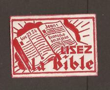 """Vintage """"Read the Bible"""" cinderella - label. (MH) French language"""
