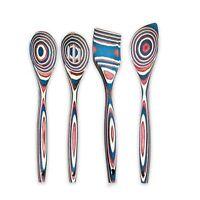 """Island Bamboo 12"""" Americana Pakkawood Wooden Spoon & Spatula 4pc Utensil Set"""