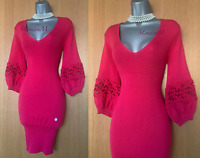 Karen Millen 1 UK 8/10 Pink Knitted Wool Embroidered Sleeves Bubble Mini Dress