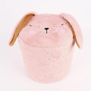 Kinder Hocker Hase mit abstehenden Ohren Plüsch rosa 28x28cm