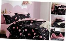 Kids Bed-in-a-Bag Bedding Set Easy-Care Microfiber Twin Black/Pink Galaxy