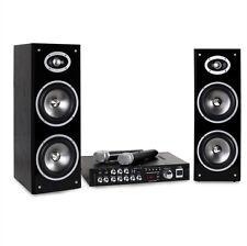 Party Sound Bluetooth USB Mp3 Musik Center Verstärker Karaoke Boxen 2x Funkmikro