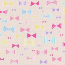 Bow ties on Soft Pink Double Gauze Collection By The Yard Fabric Camelot