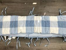 POTTERY BARN KIDS BLUE & WHITE PATCHWORK CRIB BUMPER PAD