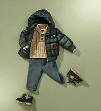 NWT NEW Gucci baby boys green brown wool plaid puffer coat 6/9m