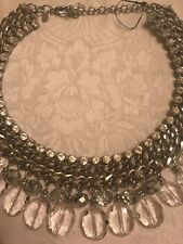 . NWOT gorgeous women's Chico rhinestone silver necklace! Heavy Great Quality!!