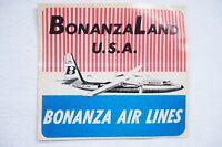 BonanzaLand USA Bonanza Air Lines Airline Aviation Luggage Label NL