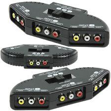 Umschalter A/V 3 fach, Audio Video Cinch Schalter, Verteiler, Switch, 3-Wege NEU