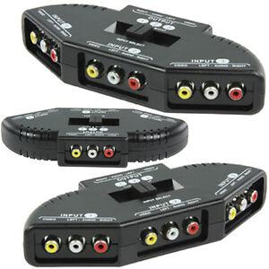 Cinch Umschalter 3 fach Audio Video Schalter Verteiler Switch 3 Wege Chinch RCA