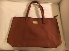 JOY Mangano Genuine Leather Tote Bag w/ RFID Clutch, Laptop Bag, Rich Cognac-new