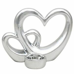 Silver Double Heart Tea light Candle Holder Ceramic Ornament Gift Decor 17x13cm