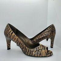"Stuart Weitzman 6.5 M Brown Tiger Snake High Heels Shoes Peep Toe Pumps Dabba 3"""