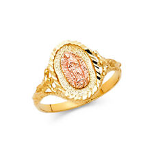 Women 14k Yellow Rose Real Gold Vintag Religious Virgin Mary Guadalupe Ring Band