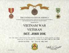 FOR ALL VIETNAM WAR VETERANS VIETNAM  CERTIFICATE ON 24 LB. PARCHMENT PAPER