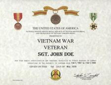 FOR ALL VIETNAM WAR VETERANS VIETNAM  CERTIFICATE ON 24 LB. PARCHMENT PAPER