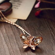 Made With Shiny Swarovski Crystal Champagne Rose Gold Butterfly Necklace Pendant