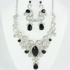 BLACK   / CRYSTAL  /RHINESTONE    STATEMENT NECKLACE AND EARRING SET s a  10