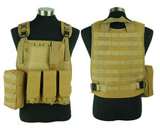 Airsoft Tactical Paintball Combat Molle Plate Carrier Vest Adjustable Vest Tan