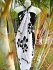 Hawaii Sarong Pareo Beach Pool Black White Plumeria Hawaiian Cruise Luau Dress