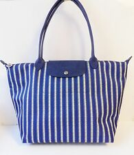 NWT Longchamp Le Pliage Tatami Large Shoulder Tote ~ Blue/White stripe