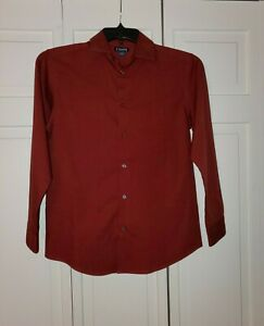 Chaps - Button Up Dress Shirt - Dark Red - sz L 14/16 - Tiny Black Check Pattern