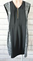 Basque Shift Dress Size 12 Black Sleeveless White Exposed Zip