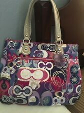 Coach Poppy Signature Pink/purple/whi Glam Shoulder Bag Handbag Purse Tote 18342