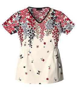Flower Pattern Top, Salon/Spa/Therapist/Workwear/Uniform, Red/Black/Cream
