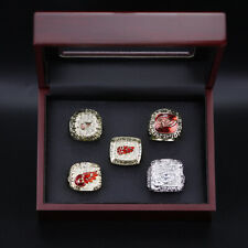 5pcs NHL Detroit Red Wings Stanley Cup Championship Ring Replica Display Set
